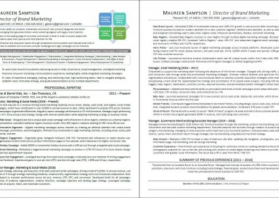 Brand Marketing Retail eCommerce Resume